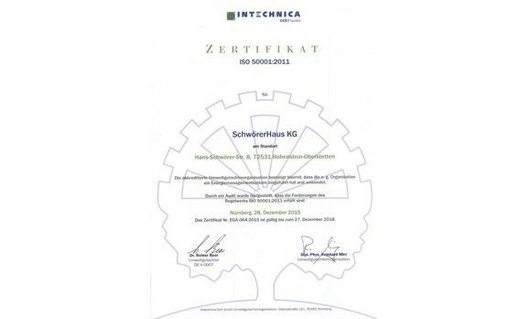 [Translate to English:] Zertifikat der IN-Technica (ISO-50001)