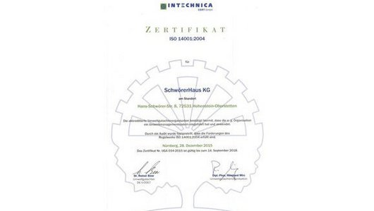 [Translate to English:] Zertifikat der IN-Technica (ISO-14001)